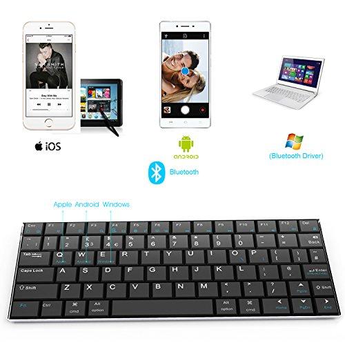 Teclado inalámbrico Bluetooth 3.0 Rii i9 con cubierta de acero inoxidable para dispositivos compatibles con iOS/Android y Windows como Tablet ...
