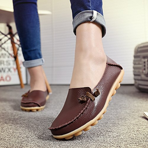 LabatoStyle Damen Casual Leder Loafers Driving Mokassins Wohnungen Schuhe Braun