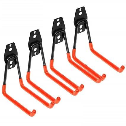 paquete de 4 Ganchos de garaje de acero resistente para organizar herramientas el/éctricas soporte de pared para garaje SUNWAN
