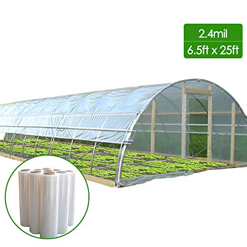 Agfabric 2.4Mil Plastic Covering Clear Polyethylene Greenhouse Film UV Resistant for Grow Tunnel and Garden Hoop, Plant Cover&Frost Blanket for Season Extension,Keep Warm and Frost Protection,6.5x25ft