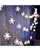 Dealgadgets Led String Light, 15ft String Light Warm White Fairy Lights Battery Operated Waterproof Outdoor/Indoor DIY Decoration Christmas Party, Wedding, Garden (Snowflakes)