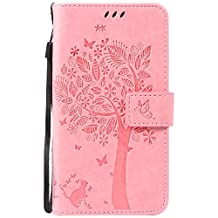 OuDu Printing Pattern Case for Motorola Moto X Play PU Leather Cover Flip Wallet Shell Silicone Inner Skin Book Style Bumper Tree&Butterfly Elegant Sleeve - Pink