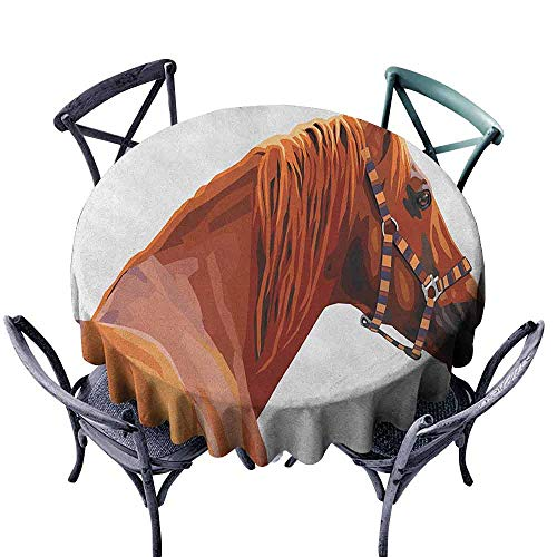 ScottDecor Tulle Round Tablecloth Wrinkle Free Tablecloths Animal,Race Jokey Horse Pure Noble Animal Ride Hobby Nature Vehicle Artwork Paint, White and Cinnamon Diameter 50