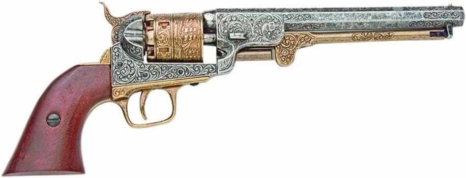 Denix 1851 Engraved Navy Revolver, Brass - Non-Firing Replica