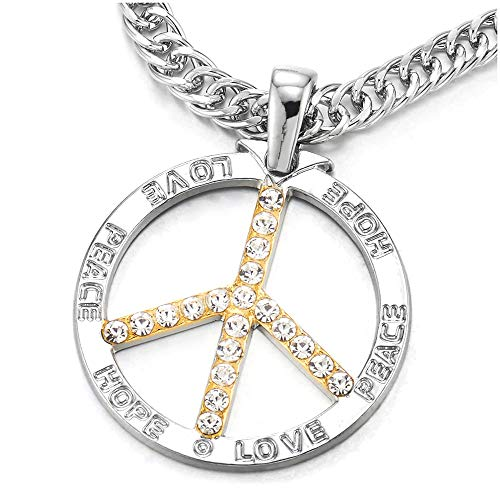 COOLSTEELANDBEYOND Men Women Large Silver Gold Anti-War Sign Symbol Love Peace Hope Pendant Necklace with ()