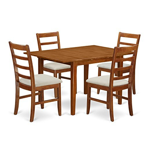 East West Furniture MLPF5-SBR-C 5 Piece Set Milan Kitchen Table With Leaf And 4 Upholstered Seat Chairs In Saddle Brown Finish