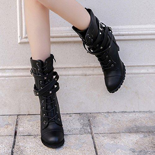 Sisit Donna Inverno Fibbia Cintura Faux Caldo Stivaletti Tacco Alto Martin Scarpe Stivali Neri Per Le Donne Nero Alla Caviglia