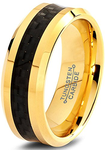 Tungsten Wedding Band Ring 8mm for Men Women Comfort Fit 18K Yellow Gold Plated Plated Black Carbon Fiber Beveled Edge Polished Size 9 (Yellow Gold Plated Edge)