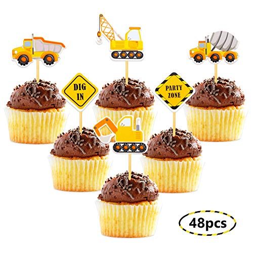 Construction Theme Cupcake Toppers Construction Signs Trucks Tratosr Excavators Cake Decorations Construction Zone Party Baby Shower Kids Birthday Party Favors Pre-assembled (48 Pack) ()