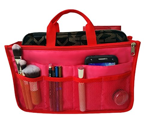 RW Collections Handbag Organizer, Liner, Nylon Multi-Pocket Purse Bag Travel Organizer Insert, 13 Compartments - Extra Large (Red/Pink) Collection Large Tote