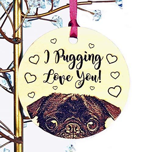 Pug Ornament, Black or Fawn Pug Wood Christmas Ornament, Add Custom Text of Your Choice