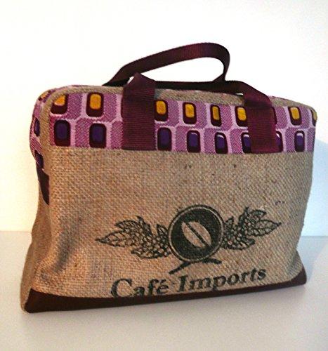 K-CHIK recyclé, Sac bowling en sac de café recyclé, K-CHIK cuir bordeaux et wax ff7b6e
