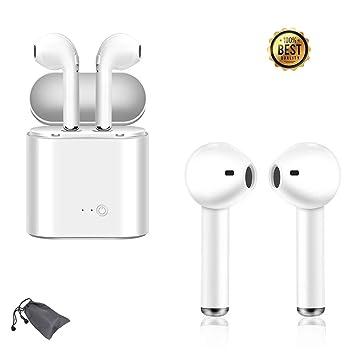 Auriculares Bluetooth, Auriculares estéreo Blancos con reducción de Ruido del micrófono Compatible con iOS 6S Samsung Galaxy S9 S8 Huawei: Amazon.es: ...
