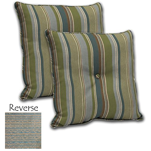 (SET OF 2 Outdoor Reversible Deep Seat Pillow Back with Welt and Button 24