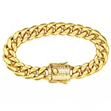 Davieslee Mens Bracelet Chain Miami Curb Cuban Link 316L Stainless Steel Iced Out Paved Cubic Zirconia CZ Gold Tone 14mm Hip Hop