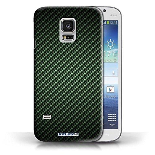 Etui pour Samsung Galaxy S5 Mini / Vert conception / Collection de Motif de Fibre de Carbone