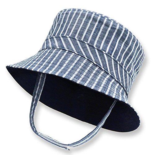 Keepersheep Infant Baby Toddler Boys' Girls' Sun Bucket Hat, Newborn Fisherman Bucket Hat (18-24 Months, Blue and White Stripe)