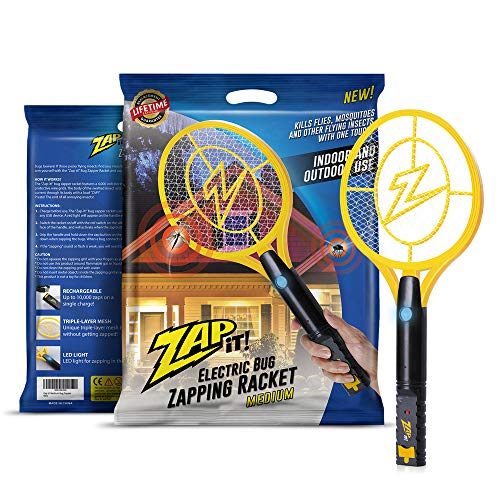 ZAP IT! Bug Zapper - Rechargeable Mosquito, Fly Killer and Bug Zapper Racket - 4,000 Volt - USB Charging, Super-Bright LED Light to Zap in The Dark - Safe to Touch (Medium)