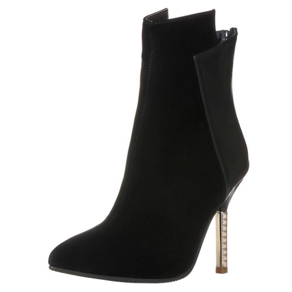 COOLCEPT Damen Mode Stiletto Zipper Dress Party Kurzschaft Stiefel Black