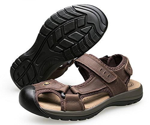 da Trekking Sportivi Chiusi Sandali Marrone scuro Luce Velcro SK Studio Scarpe Uomo Sandalo nqYRRpSw
