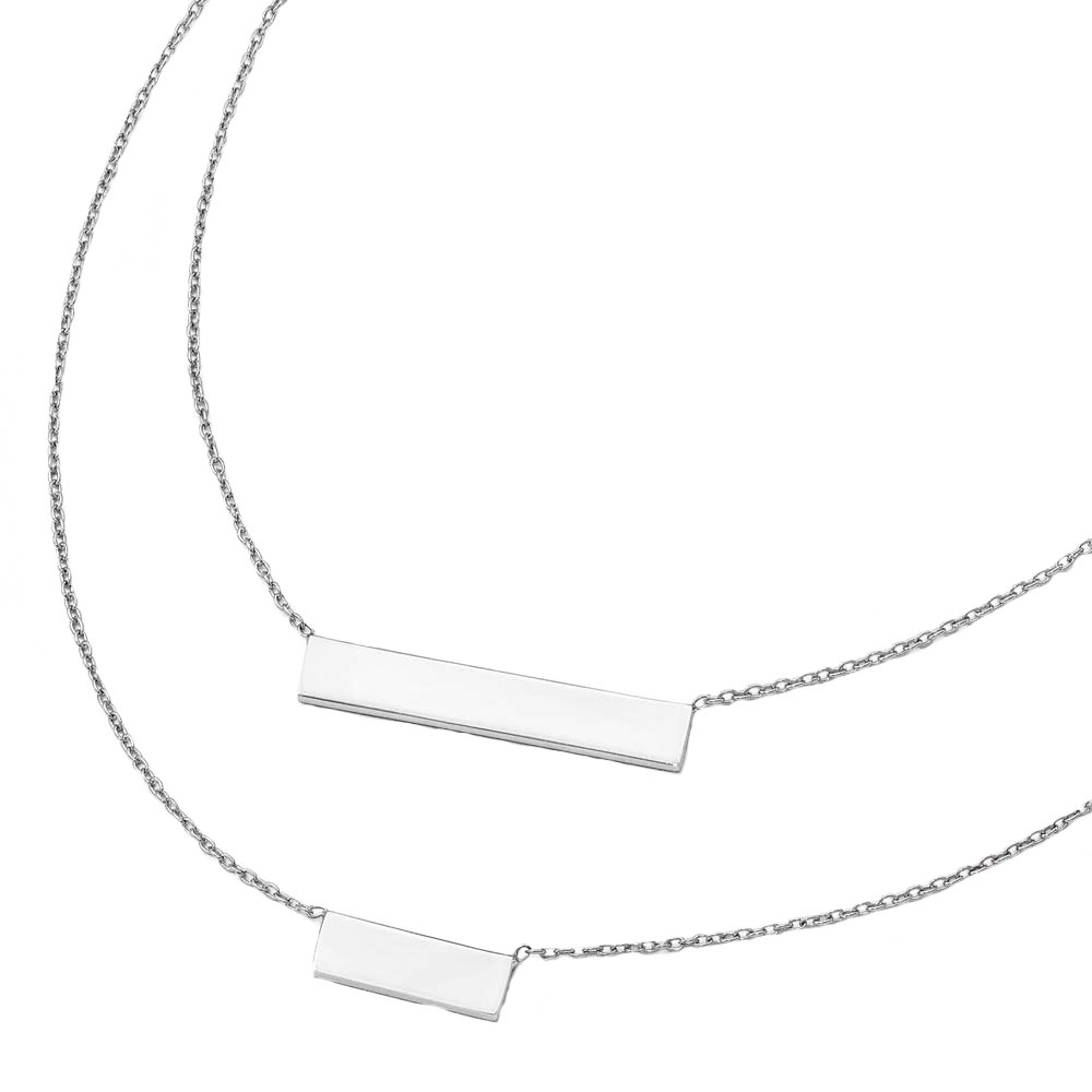 Leslie's Polished 925 Sterling Silver Double Bar Double Layered Necklace 16 Inches