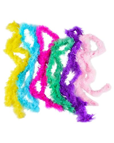 Mini Marabou Feather Boa- 12 Pack of 44 Inch- Assorted - For Halloween Costumes, Kids, Gifts, Props, Mardi Gras, & Party Favors - Kidsco