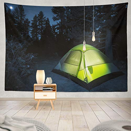 threetothree 60x80 Inches Tapestry Wall Hanging Interior Decorative Small Camping Tent Night and Collection Camp Fire California Trip for Bedroom Living Room Tablecloth Dorm