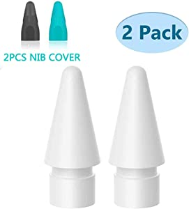 Replacement Tip Compatible with Apple Pencil, [2-Pack] Nib Replacement Compatible with iPad Pro 10.5 inch 12.9 inch 9.7 inch Apple Pencil 1/2 Apple Pencil Accessories, [with 2 PCS Nib Cover]