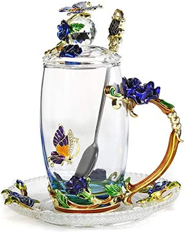 Taza de café con esmalte de mariposa azul
