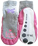 Marilyn Girls Non Skid Slipper Socks Leather Sole Moccasin (5T-7T) Love You