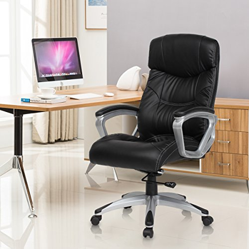 Executive High Back Seating - YAMASORO High-Back Ergonomic Leather Executive Office Chair Computer Gaming Desk Chair Big and Tall with Back Support Black