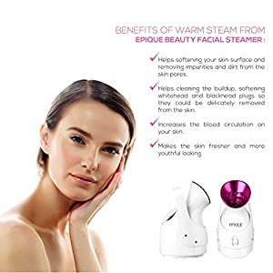 Epique Beauty Nano Ionic Facial Steamer - Professional Face Humidifier - Cleanse Skin Pores and Blackhead - Hot Mist Face Sprayer - Perfect for Spa at Home