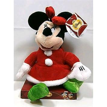 Peluche Disney animado y sonoro Minnie con vestido de Navidad 28 cm