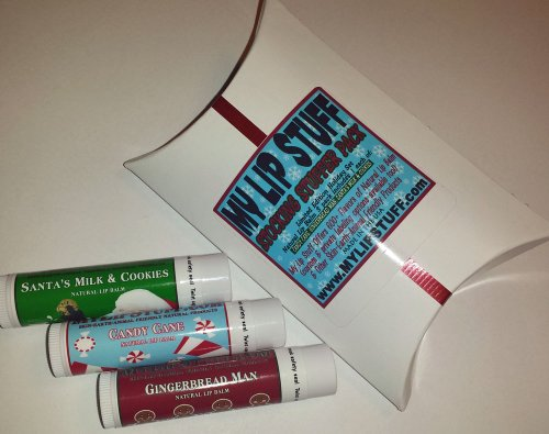My Lip Stuff STOCKING STUFFER PACK (candy cane, gingerbread man, santa's milk & cookies) holiday gift natural lip balm set Gingerbread Man Gift Set