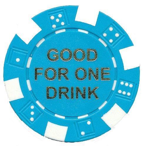 100 FREE DRINK LIGHT BLUE POKER CHIPS TOKENS FOR RESTAURANTS OR BAR - MARTINI GLASS