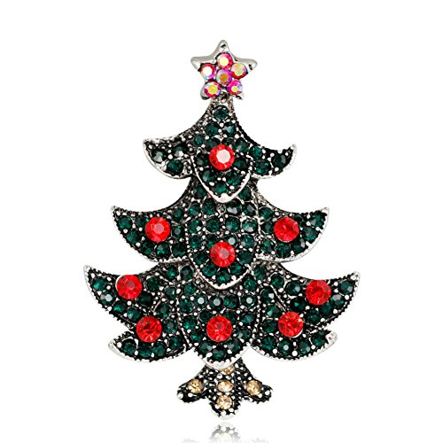 Crystal Rhinestone Christmas Tree Pin - Stunning Bling Crystal Rhinestone Christmas Tree Pin Brooch