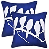 2 Packs Throw Pillow Covers Handmade 100% Cotton Decorative Couch Eco-friendly Hypoallergenic Bird Pattern Cushion Cover Shams With Hidden Zipper for Sofa & Bed Home 18x18 Inches, Navy