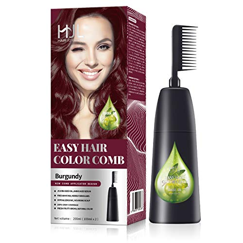 HJL Hair Color Ammonia-Free with Comb Applicator 100% Gray Coverage Hair Dye Cream Hair Coloring Kit, Burgundy, Pack of 1