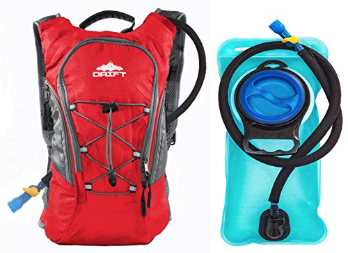 Drift Hydration Backpack with 2 Liter Water Bladder Fits Men & Women (Red with Insulated Tube Sleeve and Quick Disconnect)