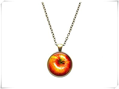 Apple pendant nature necklace fruit jewelry amazon jewellery apple pendant nature necklace fruit jewelry mozeypictures Image collections