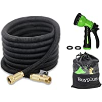 Buyplus 50-Feet Expandable Garden Water Hose with 8 Pattern Spray Nozzle and Storage Bag