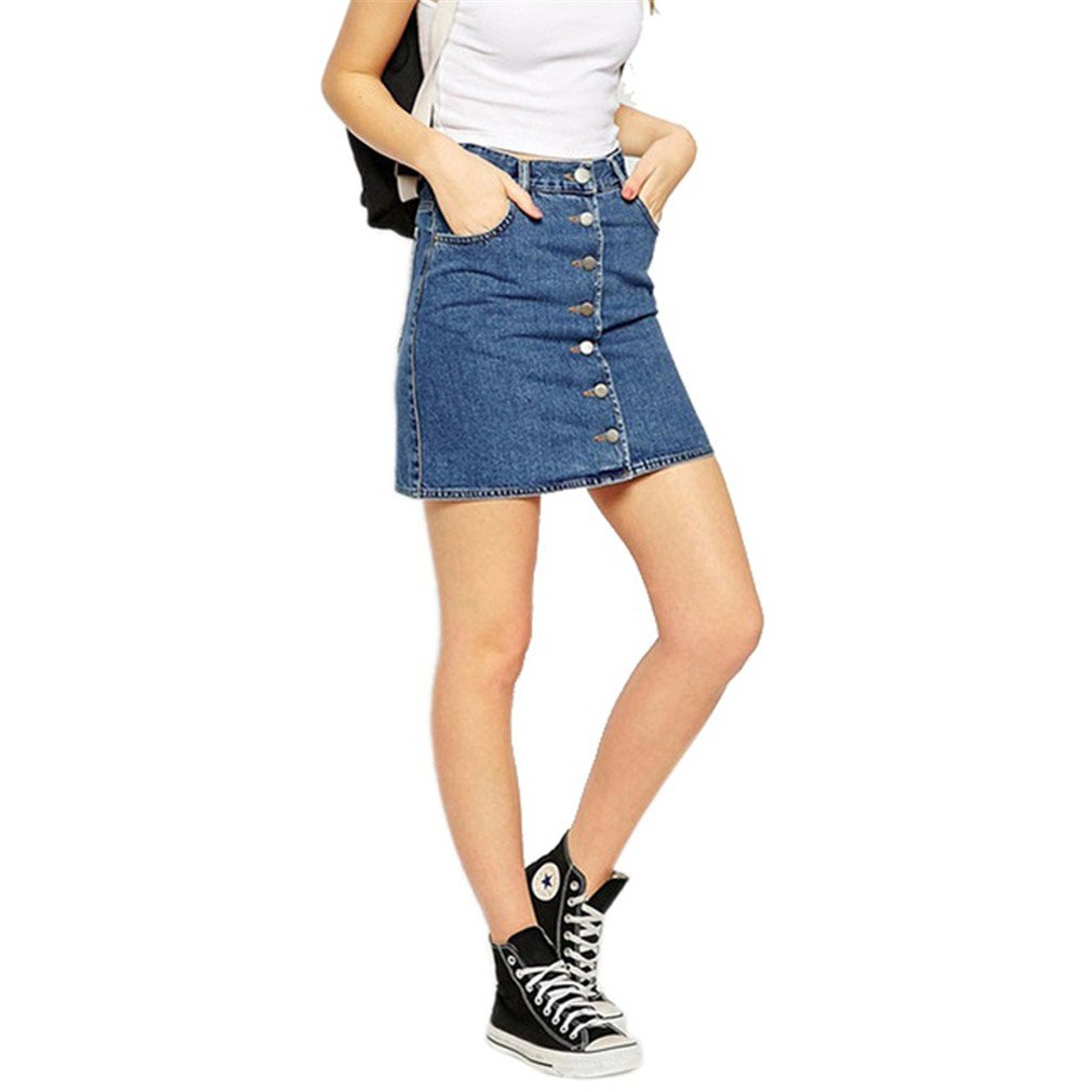lokp Summer Style New Short Jeans Skirt Women Faldas Midi Denim Skirts High Waist Sheds Blue XL