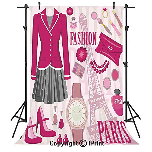 Girls Photography Backdrops,Fashion Theme in Paris with Outfits Dress Watch Purse Perfume Parisienne Landmark,Birthday Party Seamless Photo Studio Booth Background Banner 6x9ft,Pink Biege -