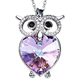 Purple Heart Cz Owl necklace- Heart of the Ocean Necklace Jewelry with Purple Crystal Pendant Wisdom Gifts for Women and Girls