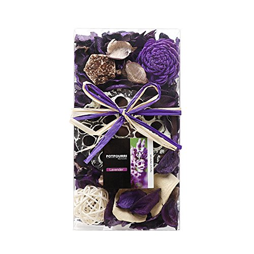 Qingbei Rina Gifts,Purple Lavender Scent Potpourri Bag,including lotus pod,Flower,Petal,Pinone,Rattan Ball,Sepa Takraw,Perfume Satchet in PVC Bags.Home Decoration.7oz. (Purple) by Qingbei Rina