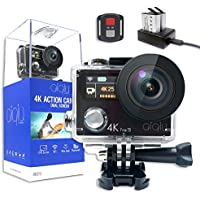 AIQIU 4K WIFI Action Camera Dual Screen Waterproof Sports Video Cameras Ultra HD 12MP 170 Degree Wide Angle/ 2 Rechargeable 1350mAh Batteries/ Wireless Remote control/ 22 Mounting Kits