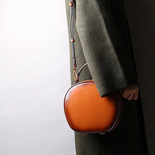 Noir Ronde Femmes Sacs Rétro Rouge en Diagonale Brun WKNBEU À Mode Épaule Brown Main Shopping Épaule Cuir TqwCxZC