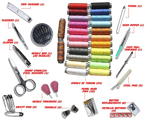 Premium Sewing Kit by Ambears&D - 24 Spools of Thread, Best Mini Repair Kit for Travellers and Beginners - Sewing Set for Home and Office, Clothes Fix and Repair - Best Sewing Supplies