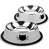 Eagmak Pet Dog Bowl Stainless Steel Cute Puppy Cat Dish Food Water Bowls with Non-Slip Rubber Bottom 12 Ounces Set of 2