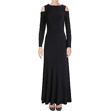 Lauren Ralph Lauren Womens Matte Jersey Cold Shoulder Evening Dress